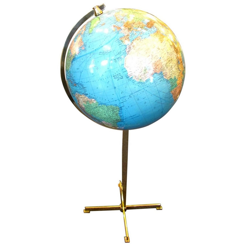 grand globe terrestre lumineux sur pied colombus allemagne vers 1970. Black Bedroom Furniture Sets. Home Design Ideas