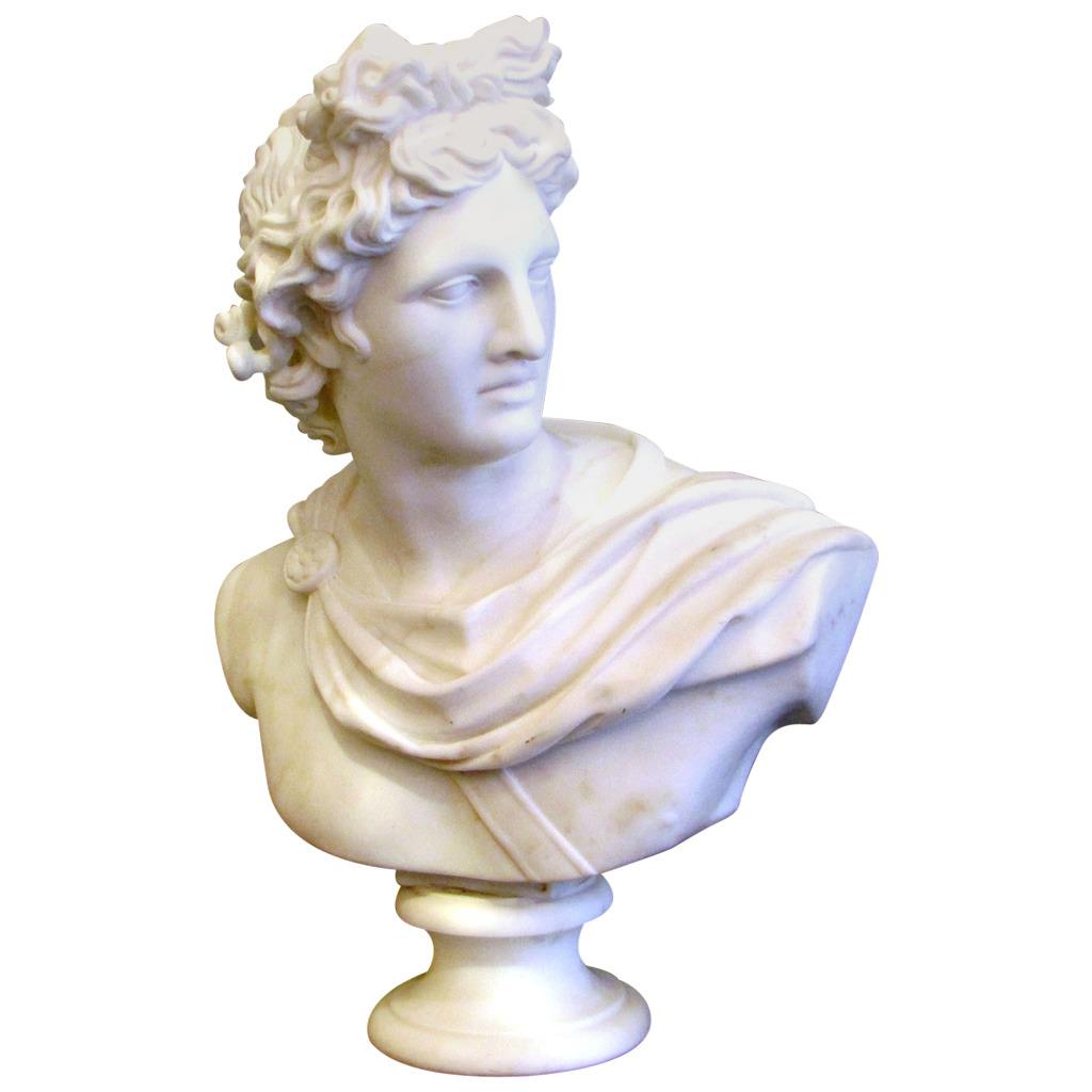 Grand buste d Apollon en marbre de Carrare d après l Antique