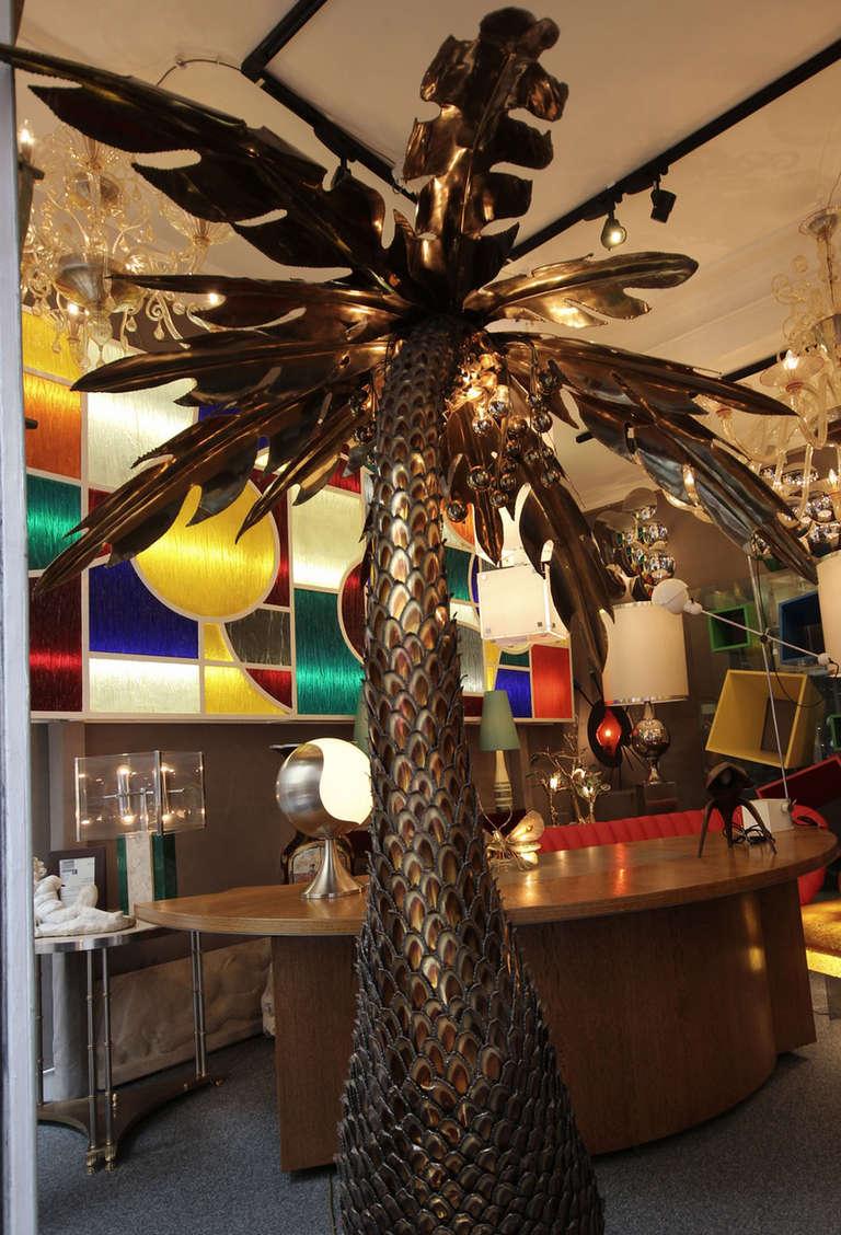 Large 1970s Coconut Palm By Maison Honore Paris France