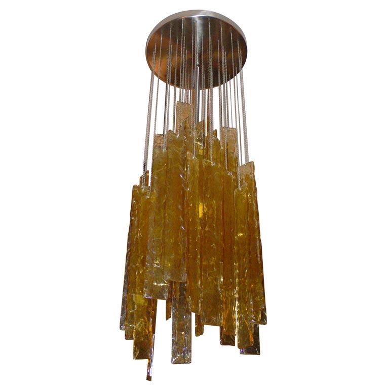 suspension inox bross et plaquettes de verre venini. Black Bedroom Furniture Sets. Home Design Ideas