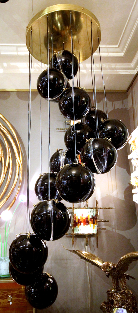 grand lustre de murano boules bleues circa 1970. Black Bedroom Furniture Sets. Home Design Ideas