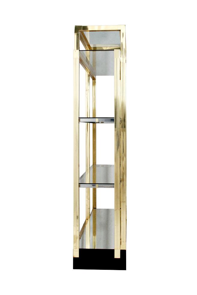 etag re d 39 poque 1970 double face en chrome et laiton. Black Bedroom Furniture Sets. Home Design Ideas