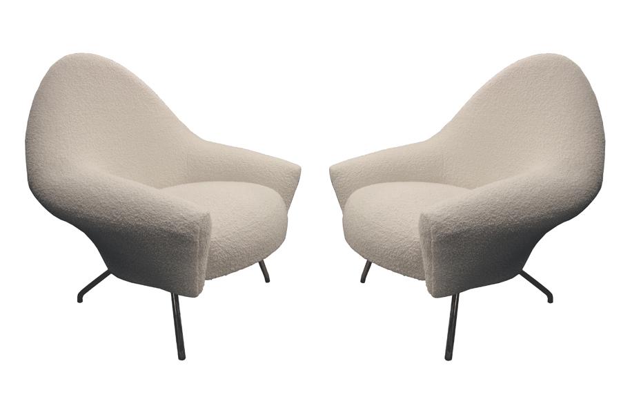 paire de fauteuils mod le 770 joseph andr motte pour steiner vers 1958. Black Bedroom Furniture Sets. Home Design Ideas