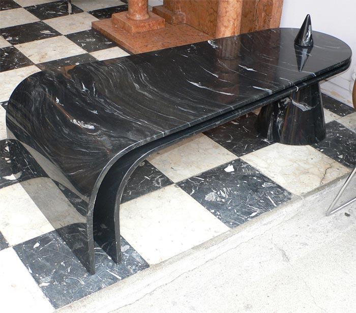 Table basse poque 1970 en r sine l 39 imitation du marbre - Table basse en resine ...