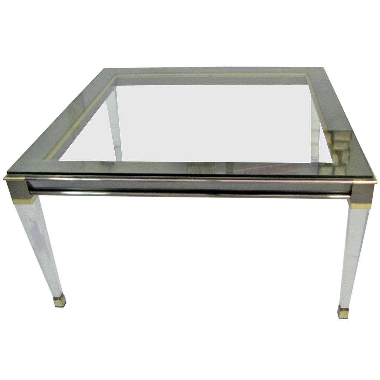 Table basse de belgo chrome belgique poque 1970 - Table basse en plexi ...