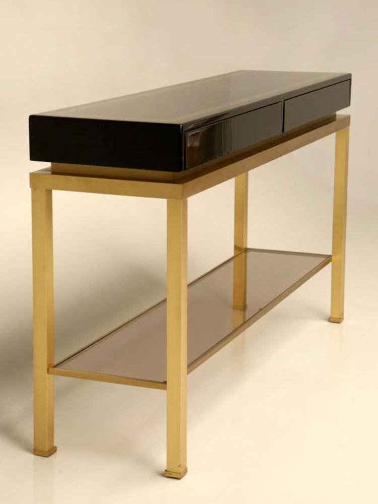 paire de grandes consoles guy lefevre pour la maison jansen 1970. Black Bedroom Furniture Sets. Home Design Ideas