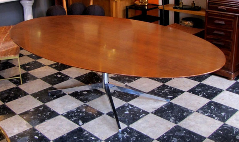 1960s florence knoll oval table for Table knoll ovale marbre blanc