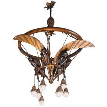 lustre aux singes en bois sculpt fer dor et perles de. Black Bedroom Furniture Sets. Home Design Ideas