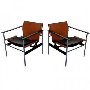 paire de fauteuils 657 de charles pollock pour knoll 1964. Black Bedroom Furniture Sets. Home Design Ideas