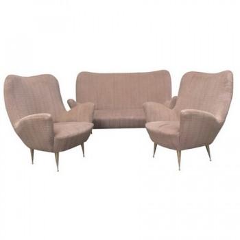salon canap deux places et deux fauteuils italie poque 1950. Black Bedroom Furniture Sets. Home Design Ideas