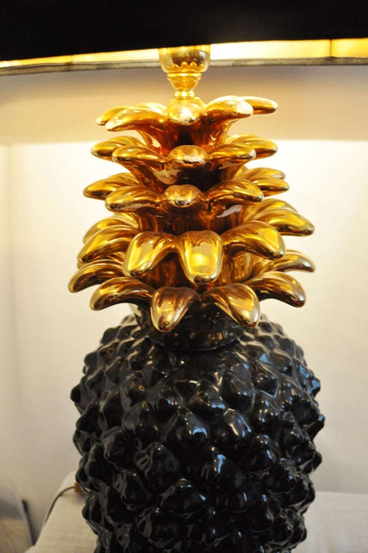 Grand Pied De Lampe Ananas En Ceramique France 1970