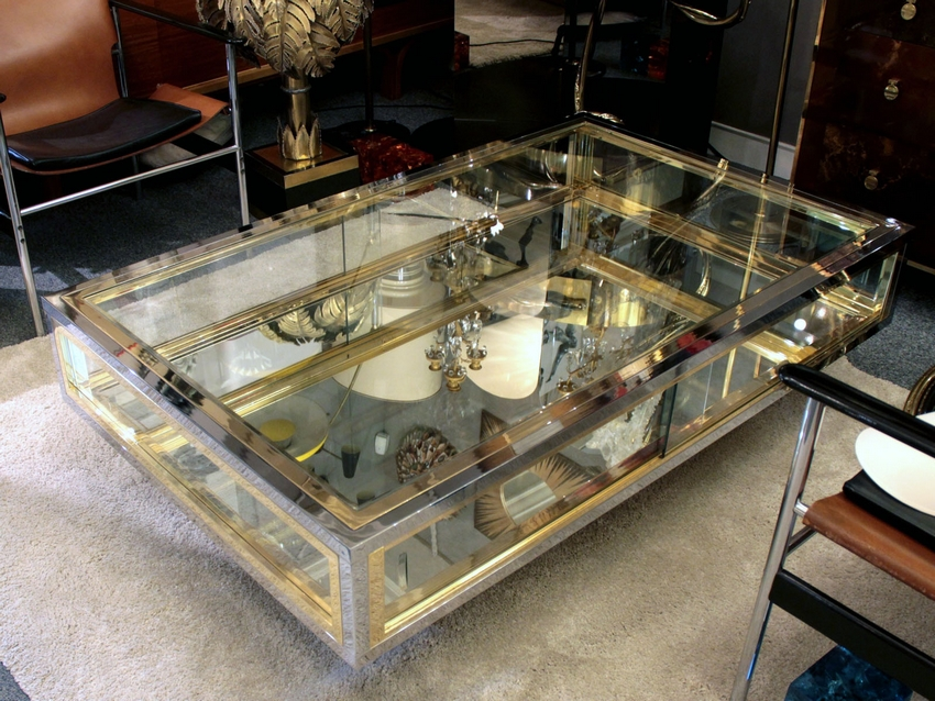 1970s Showcase Coffee Table In Brass And Chrome