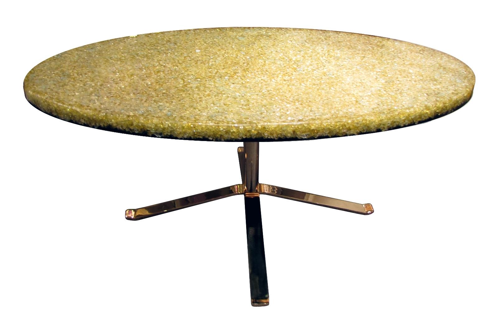 Table Basse En Résine à Piètement Doré Pierre Giraudon