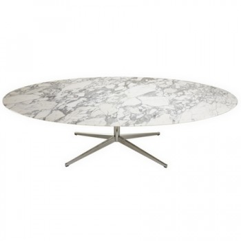 Large Ovale Dining Table In Arabescato Marble By Florence Knoll, Circa 1965